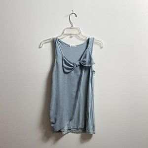 Blue bow draped tank top
